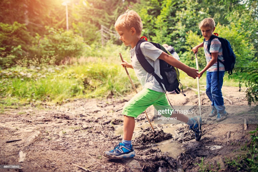 Little boys hiking on muddy path in forest : Stock Photo