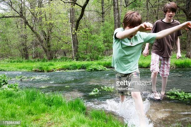 Little Boys Playing Splashing in Stream- Wooded Green Park