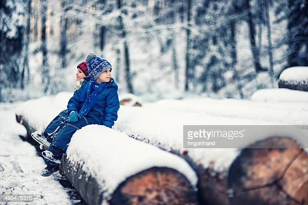 Little boys sitting on tree trunks in winter forest.