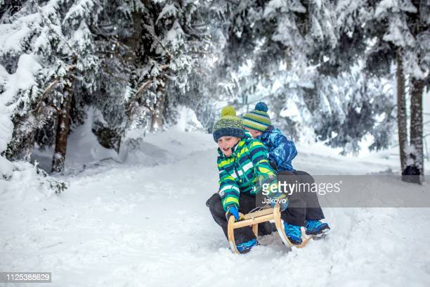 Little boys sledding on snow