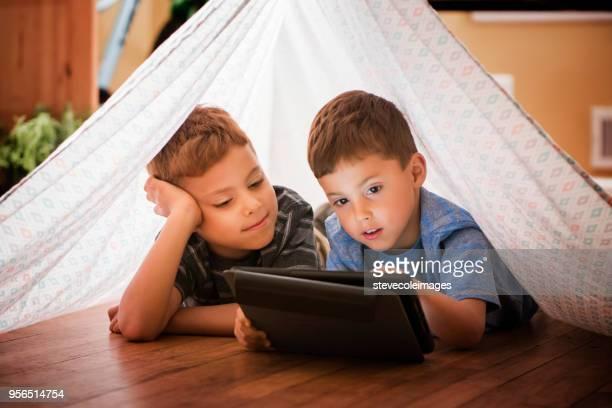 Little boys using digital tablet.'n