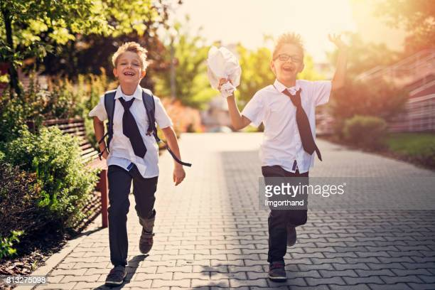 Little boys walking to school
