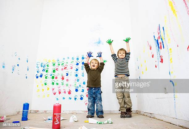 Little Boys with Paint on Hands