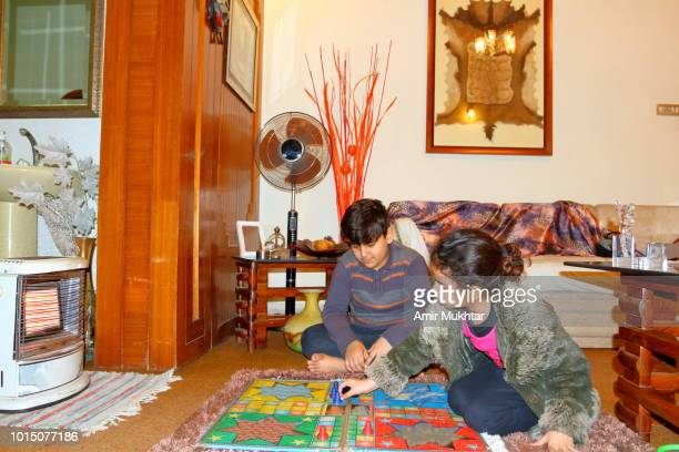 Little brother and sister playing ludo (Board Game) together