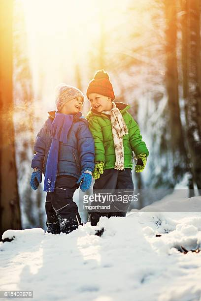 Little brothers playing in winter forest