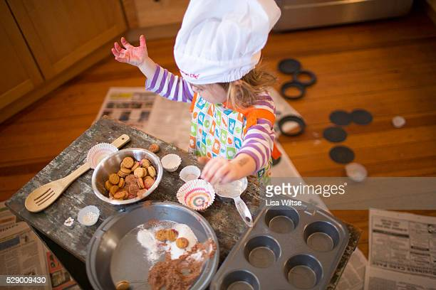 A little chef cooking in the kitchen