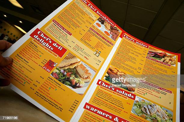 Little Chef roadside diner menu is pictured on September 19 2006 in Salisbury England Smaller Roadside diners frequented by commuters are in threat...