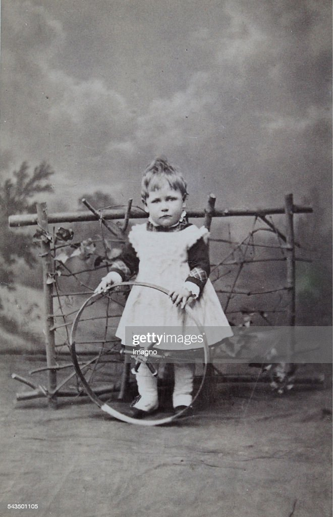 Little Child Playing With Tires Carte De Visite Photograph