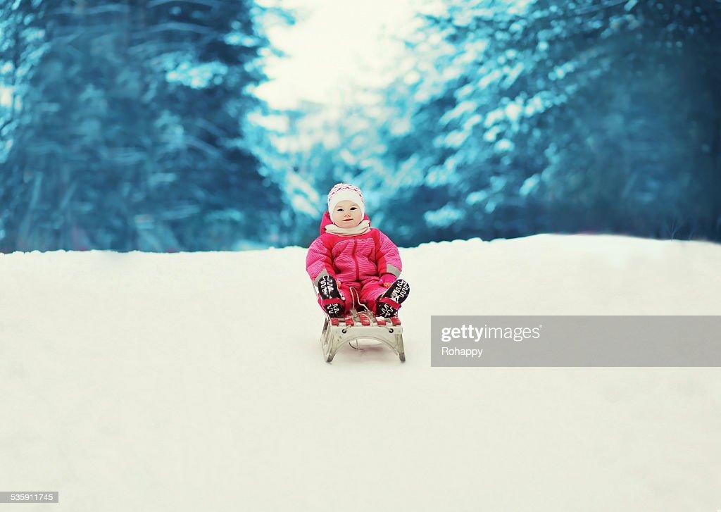 Poco niño paseos en trineo en el invierno. : Foto de stock