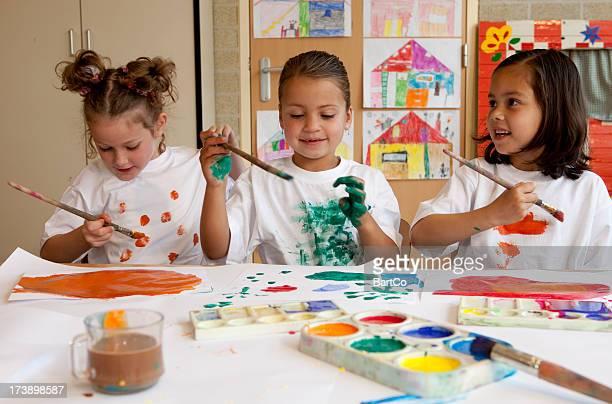 Little children painting