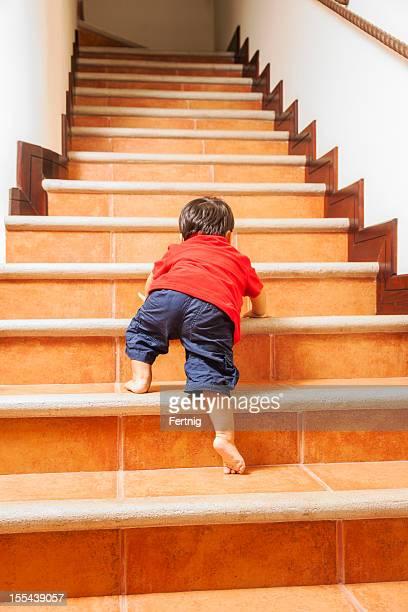 Little climber, toddler, climbing, stairs.