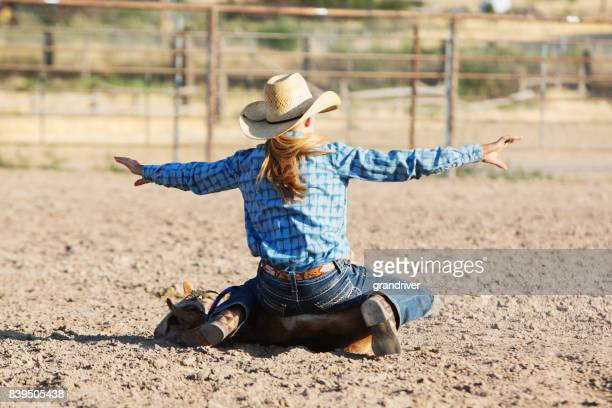 Little Cowgirl Finished Roping a Goat