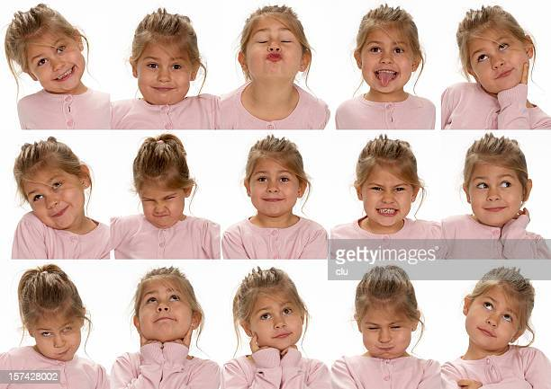 Little cute girl making faces