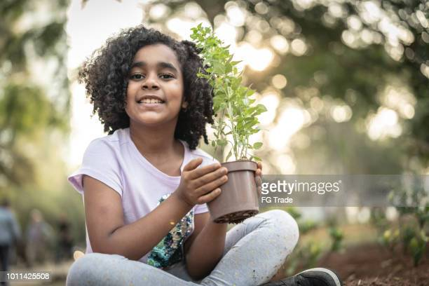 little cute girl planting young tree on black soil as save world concept - planting stock pictures, royalty-free photos & images