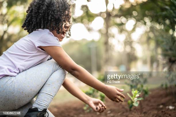 little cute girl young planting a tree on black soil as save world concept - morality stock photos and pictures