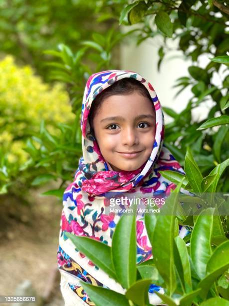 little cute muslim girl with hijab - iran stock pictures, royalty-free photos & images
