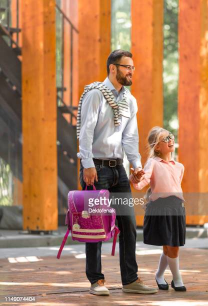 little daughter her father outdoors
