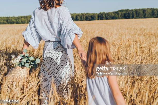 little daughter and mother enjoying summer in rye field, august village lifestyle sunny day - rye grain stock pictures, royalty-free photos & images
