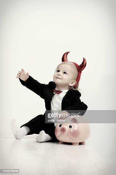 little devil portrait - devil costume stockfoto's en -beelden