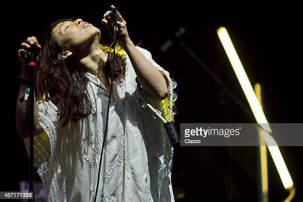 Little Dragons perform during a concert as part of Corona Capital Festival day 1 at Hermanos Rodriguez Racetrack on October 11 2014 in Mexico City...