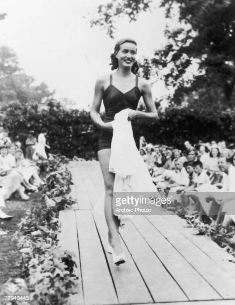 'Little' Edith Bouvier Beale a cousin of Jacqueline Kennedy Onassis modelling swimwear during her job as a fashion model circa 1935