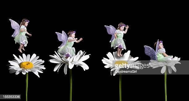 Little Fairy Jumping on Flowers