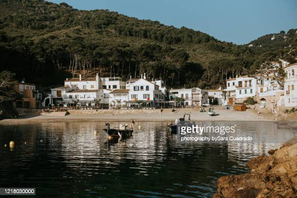 little fisherman town without people in autumn season - fishing village stock pictures, royalty-free photos & images