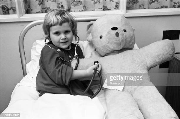 Little four year old Michelle Roberts and her big borrowed teddy bear were both progressing very nicely at Northampton General Hospital after their...