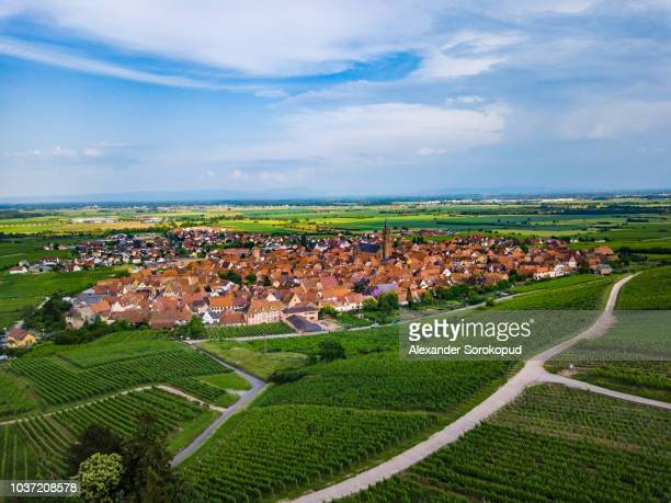 Little french village Dambach-la-ville and medieval church panoramic aerial view, Alsace, France