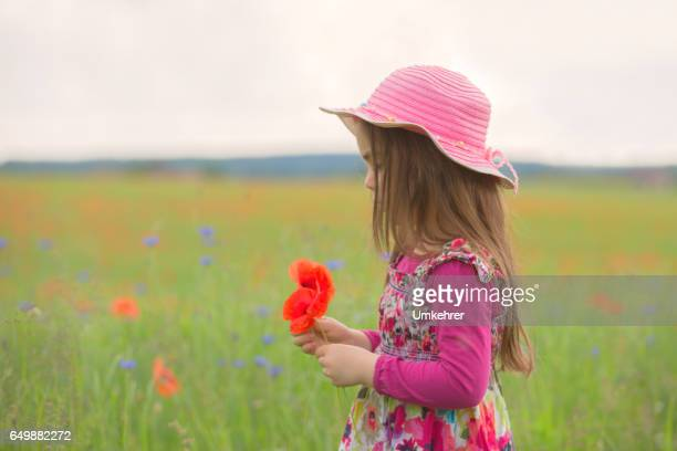 Little gilrl with hat in a flower field
