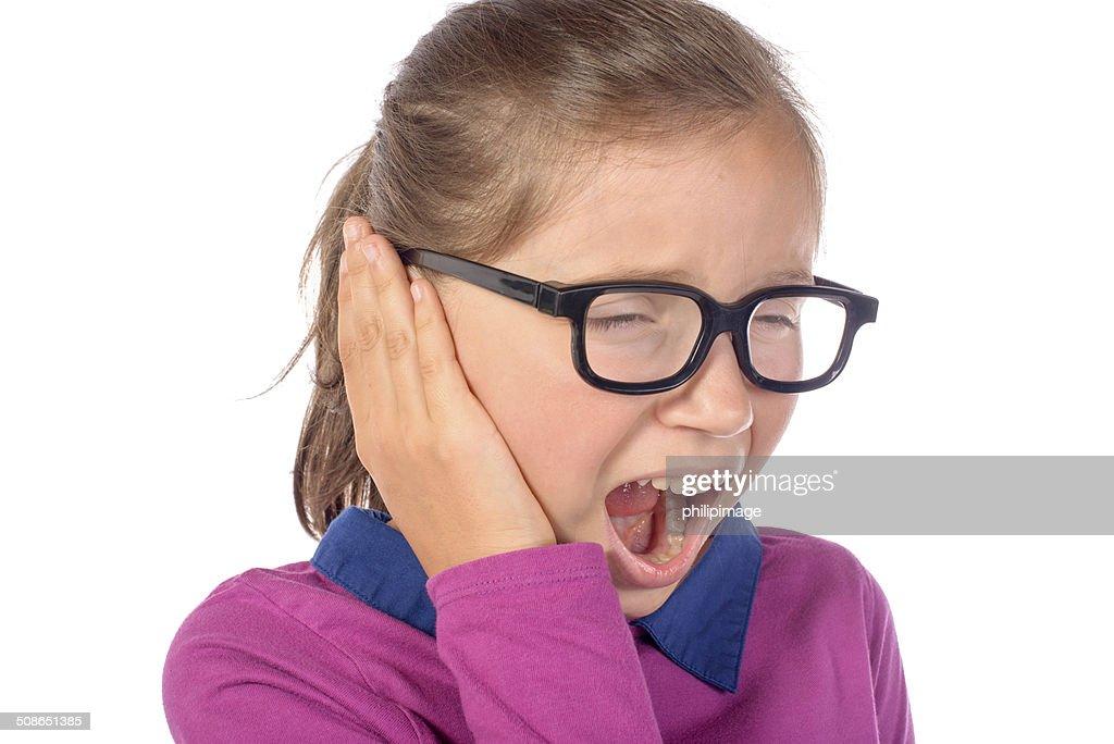 little girl an earache : Stock Photo