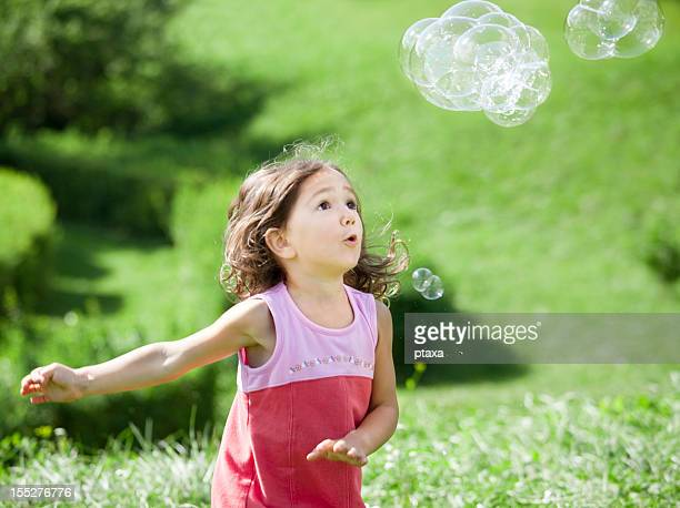 Little girl and a bubble