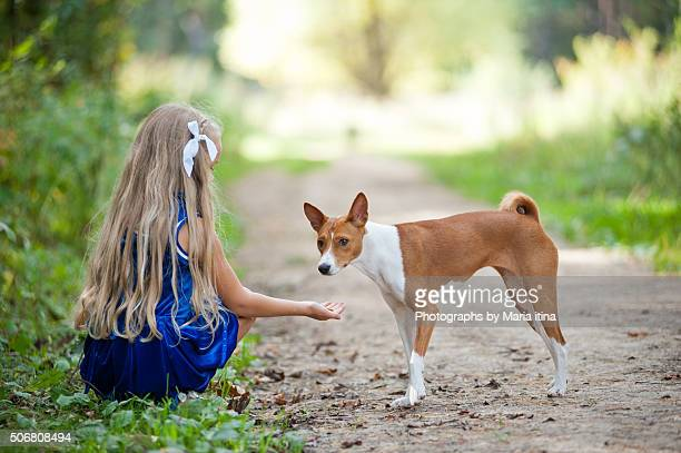 little girl and basenji - little russian girls stock photos and pictures