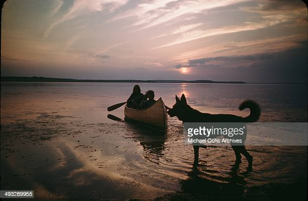 A little girl and boy paddle a canoe as a dog walks in the water at sunset in July 1946 in Denmark