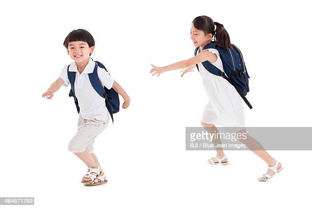 Little girl and boy playing