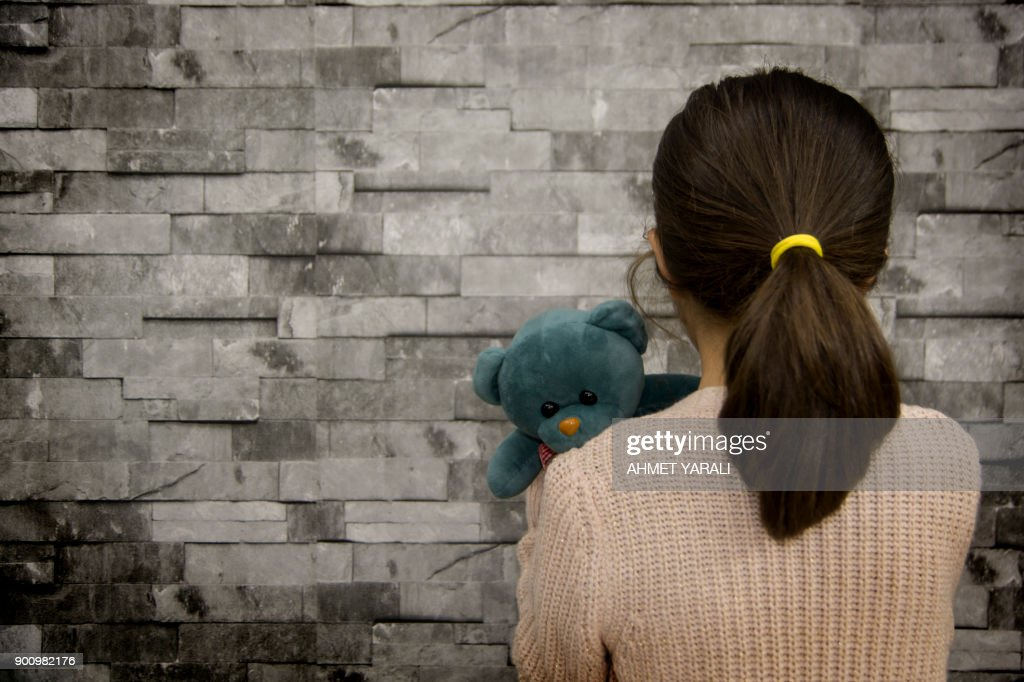 little girl and fear : Stock Photo