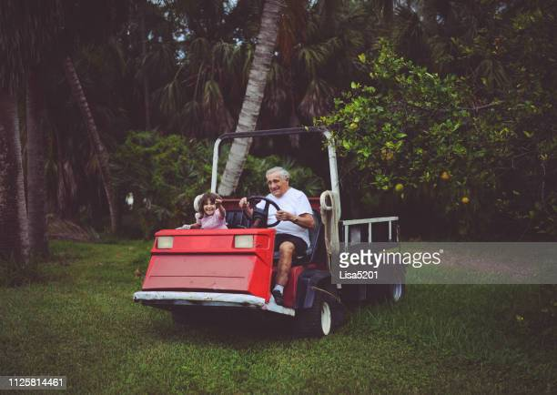 little girl and great grandfather on a utility cart in the yard on the farm - great granddaughter stock photos and pictures