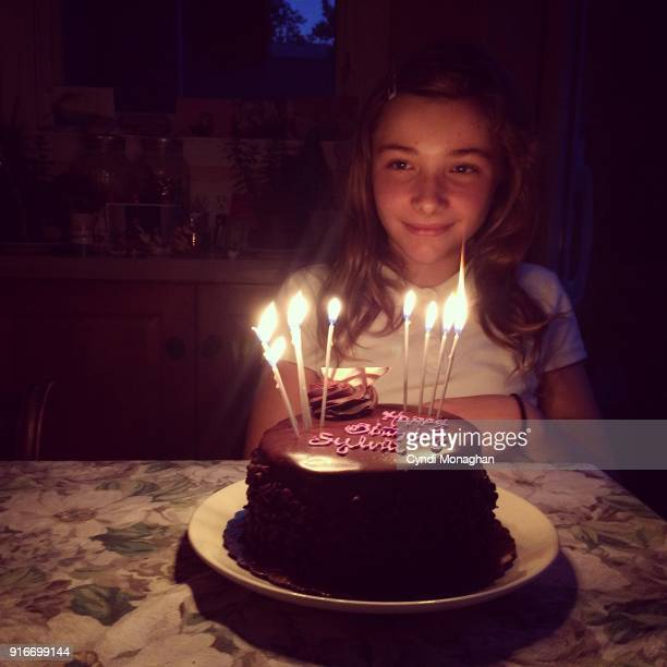 Little Girl and Her Birthday Cake