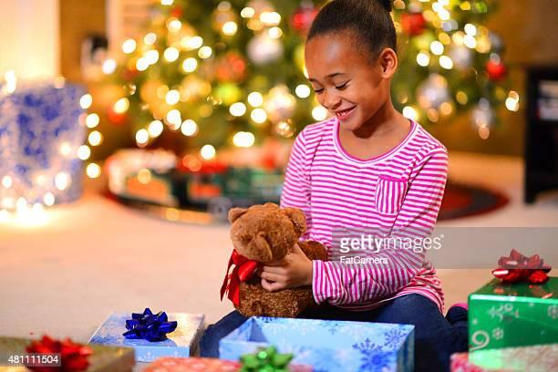 Little Girl and Teddy Bear on Christmas