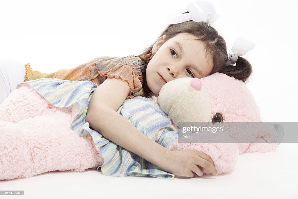 Kleine Mädchen und Teddybär : Stock-Foto