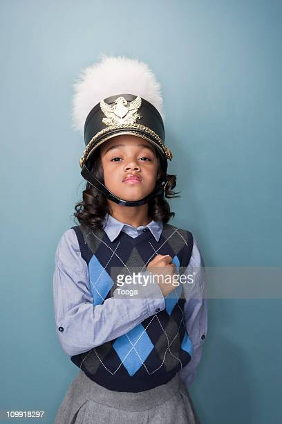 little girl as band leader with hat - uniform cap stock pictures, royalty-free photos & images