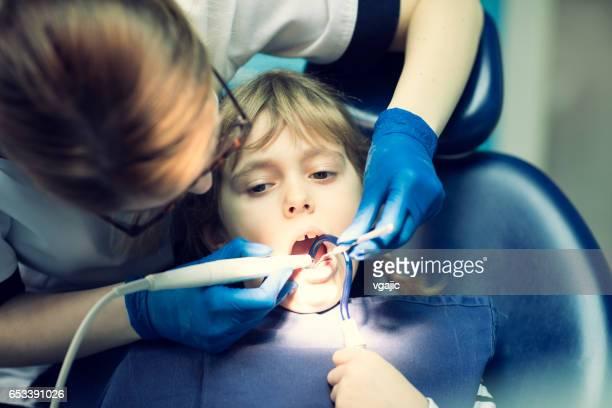 Little girl at dentist office