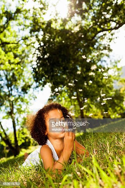 Little Girl Blowing Dandelion Seeds In Garden