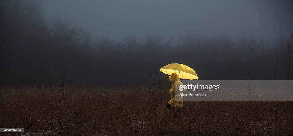 Kleines Mädchen über die field in fog : Stock-Foto