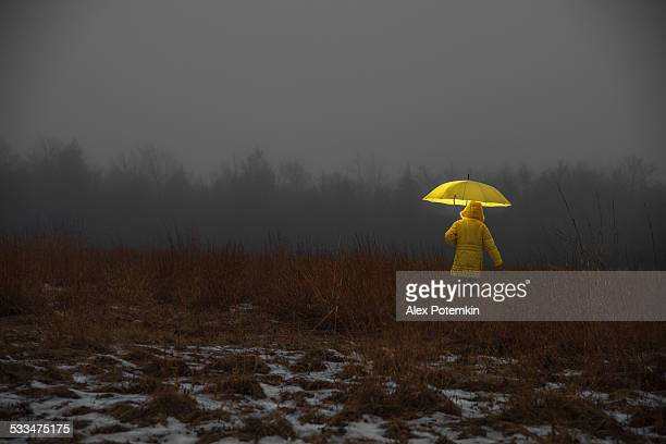 Little girl crossing the field in fog