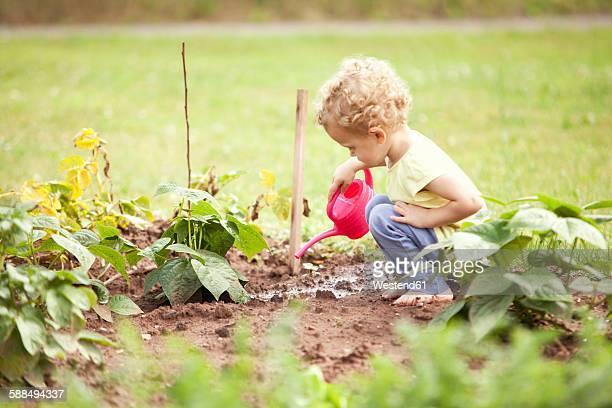 Little girl crouching in the garden watering plants