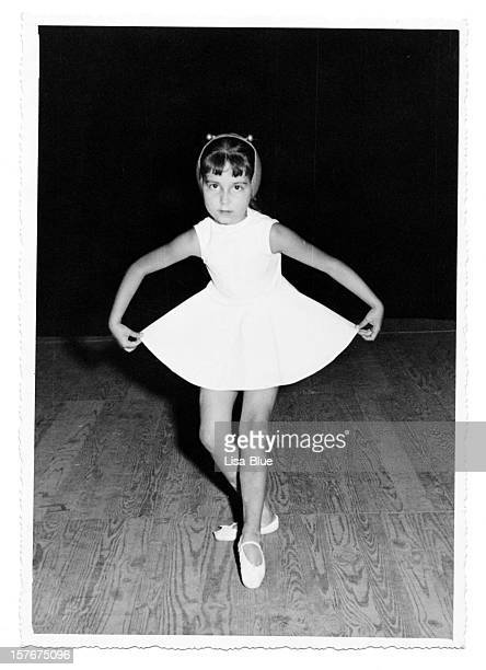 Little Girl Dancing on Stage in 1958.Black And White.