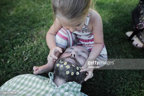 little girl decorating father's beard with daisies on meadow in the garden - einfaches leben stock-fotos und bilder