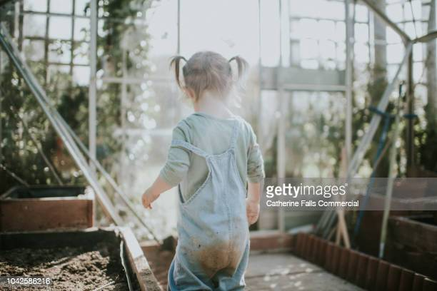 Little girl digging in soil
