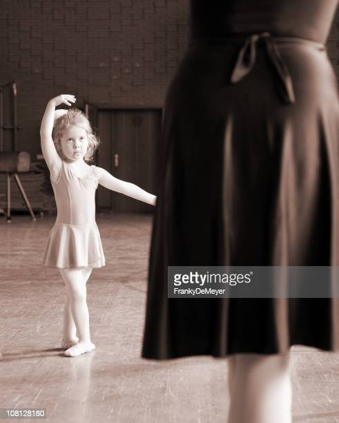 Little Girl Doing Ballet with Teacher, Sepia Toned